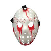 черная белая страшная маска оптовых-Джейсон страшно кровавая черная пятница белая маска хэллоуин смешные капли крови маски косплей аксессуары