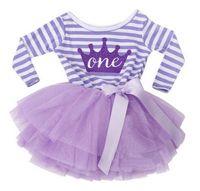 yılbaşı partisi elbisesi toptan satış-Toptan-Sonbahar Bebek Kız Bebek Çocuklar için 1 2 Yıl Doğum Günü Kıyafetleri Parti Giyim Giyim Şerit Yürüyor Kız Elbise Prenses Tül Giysileri