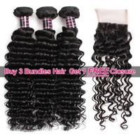 Wholesale free brazilian hair weave for sale - Ishow Hair Big Spring Sales Promotion Buy Bundles Brazillian Deep Wave Unprocessed Peruvian Human Hair Get One Free Closure Free Part