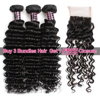 Wholesale hair sales - Ishow Hair Big Spring Sales Promotion Buy 3 Bundles Brazillian Deep Wave Unprocessed Peruvian Human Hair Get One Free Closure Free Part