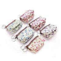 Wholesale Coin Purse Makeup Bag - Wholesale- Floral Coin Bag Women Pastoral Style Floral Canvas Card Makeup Coin Key Bag Wallet Purse Pouch Coin Purse Bag