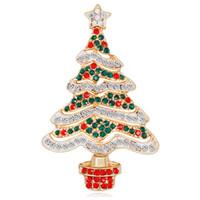 china branca da árvore de natal venda por atacado-Nova liga de ouro vermelho verde branco strass zircão árvore de natal broches para mulheres meninas presentes moda pinos roupas acessórios db