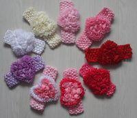 flores de crochet para faixas de bebê venda por atacado-20 pcs 8 cm chiffon rosette crochet headband flor para meninas acessórios para o cabelo, criança crochet headband flor, baby crochet headband