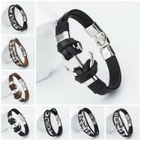 Wholesale mens leather anchor bracelets - Mens Anchor Bracelets & Bangles Male Multilayer Accessories Homme Jewelry Black Color Valentine's Day Gift for Love Leather Bracelet
