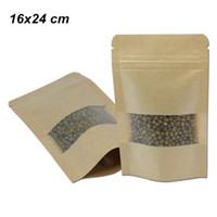 Wholesale window kraft brown bags for sale - Group buy Brown x24 cm Stand Up Matte Kraft Paper Zip Lock Bags with Window Heat Seal Sample Packets with Notches Reusable Food Doypack