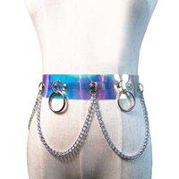 Wholesale transparent dresses for women - New Transparent color PU Leather wide Belts For Women silver Metal Chain Waist Belt Dancing Girl Belt Female Accessories Dress