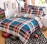 Wholesale silver queen bedding sets online - New Fashion plaid Bedding Set Duvet Cover Sets Soft Polyester Bed Linen Flat Bed Sheet Set Pillowcase Home Textile