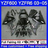 yamaha negro r6 al por mayor-Cuerpo para YAMAHA YZF600 YZF R6 03 04 05 YZFR6 03 Carrocería 228HM.2 YZF 600 R 6 YZF-600 YZF-R6 Factory black hot 2003 2004 2005 Fairings Kit