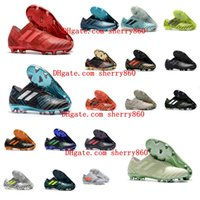 Wholesale Messi Shoes Red - 2018 mens soccer cleats Nemeziz 17 360 Agility FG soccer shoes nemeziz tango Crampons de football boots messi top quality cheap