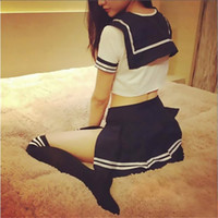 Wholesale japanese cosplay adult for sale - Sexy Lingerie Hot Erotic Seductive Japanese High School Girl Cosplay Dress Erotic School Student Fancy Uniforms Adult Women Y18101502