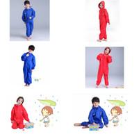 Wholesale outdoor raincoats - Waterproof Kids Rain Coat Hooded for children pants Baby Rain Coat Pnocho kids Rainsuit Outdoor boys girl raincoats GGA341 20PCS
