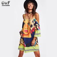 Wholesale cold dresses - wholesale Mixed Print 3 4 Sleeve Dress 2017 Multicolor Cold Shoulder Tunic Dress Women 3 4 Sleeve Short Shift Dress
