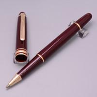 abrigos de vino tinto al por mayor-Luxury Wine Red 163 Roller Ball Pens finas en la pluma de escritura de la marca de la escuela Au-revestida Au Rodio