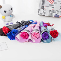 Wholesale hot valentines day gifts - DIY Hand Made Soap Rose Flower Valentines Day Girl Gift Bouquet Multi Colors Simulation Wedding Decorations Flowers Hot Sale dca B