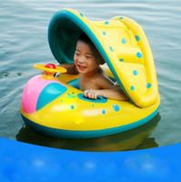 color de agua del barco al por mayor-Verano con una trompeta bebé natación barco bebé natación flotador inflable asiento de natación para niños agua yate al por mayor