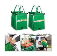 Wholesale free garages - Free Shipping Reusable Large Trolley Clip-To-Cart Grocery Shopping Bags Portable Green Cloth Bag Foldable Tote Handbags
