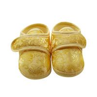 цветочный принт обувь кроссовки оптовых-Новорожденный ребенок цветочный принт Sneaker противоскользящая мягкая подошва малыша обувь хлопок ткань крюк петли