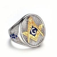 freimaurer modeschmuck großhandel-Großhandel Fashion Herren versilbert Freemason AG Ring Freimaurer Ring G Party Schmuck Größe 9 10 11 12
