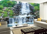 Wholesale natural sofas - Custom 3D Photo Wallpaper Natural Mural Waterfalls Pastoral Style 3D Non-woven Straw Paper Wall Papers Living Room Sofa Backdrop