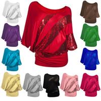 Wholesale dolman sleeve shirts - Women Scoop Neck T Shirt Sequin Printed Women Sexy Batwing Short Sleeve T-Shirt Tops Streetwear Clothing