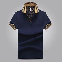 ingrosso camicie maschili disegni-Camicia di vendita calda di design di lusso maschile estate risvolto colletto maniche corte in cotone camicia uomini Top