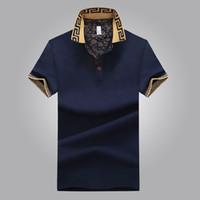 camisas de diseño masculino al por mayor-Camisa de ventas caliente de diseño de lujo hombre verano Turn-Down cuello manga corta camisa de algodón hombres Top