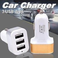 Wholesale Usb Triple Socket Car - Universal Triple USB Car Charger Adapter USB Socket 3 Port Car-charger fast charging For iPhone Samsung