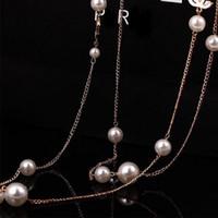 perlen halskette zubehör für frau großhandel-Neue Frauen-Entwerfer-Perlen-wulstige Halsketten-lange Kettenluxushalsketten-berühmte Schmucksache-Zusätze mit schnellem Verschiffen