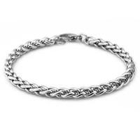 ingrosso braccialetti di tungsteno nero per gli uomini-knit keel Wheat Bracciale in acciaio inossidabile 4/5 / 6mm braccialetto di gioielli fai da te per uomo donna Commercio all'ingrosso di alta qualità 1 pz