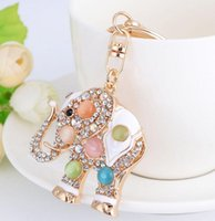 Wholesale crystal keyring animal for sale - Group buy DHL Crystal Keychain Animal Keyring Car Bag Accessory Alloy diamond elephant Key Ring For Women Jewelry Accessories Gift nx
