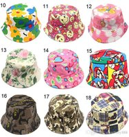 Wholesale cartoon flower pictures - 30 style Cartoon Flower printed picture kid girl sun hat Colorful Baby Bucket hats canvas children beanie emoji cap hat E941