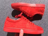 sarı elbise ayakkabıları toptan satış-Kırmızı Alt Tasarımcı Ayakkabı Elbise Ayakkabı Erkekler ve Kadınlar Için Çivili Spike Flats ayakkabı Parti Severler Hakiki Deri Sneakers