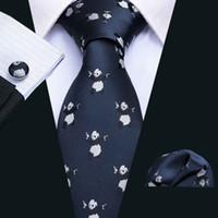 Dark Blue Panda Pattern Tie Set Handkerchief and Cuffs Fashion Wholesale Business Wedding Party Free Shipping N-5062