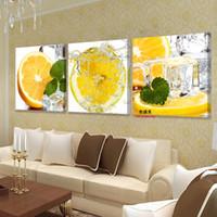 ölgemälde leinwand für küche großhandel-3 Panel Wandkunst Malerei Zitrone Bild Ölgemälde Moderne Obst Küche Bilder für wohnzimmer Hd Druck Leinwand Kein Rahmen