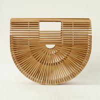 ingrosso maniglie di bambù-2018 Fashion Bamboo Women Handbag Marca Designer Lady Tote Bags Top Handle Bamboo Bag per le donne Summber Beach Handbag