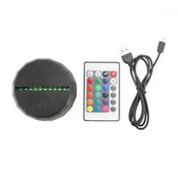 leuchtet kugel großhandel-RGB-Leuchten 3D LED Lampensockel IR-Fernbedienung Batteriefach 10 LEDs 3D Optische Lampen Touch-Schalter Neuheit Beleuchtung Tischlampe Großhandel