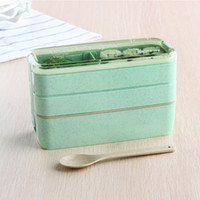 Wholesale green plastic container resale online - Multi Layers Children Lunch Box Food Grade Plastic Bento Boxes Healthy Portable Lunchbox Container Oven Dinnerware Set wd jj