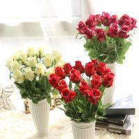 Wholesale flowers resale online - Bouquet Nienie Artificial Flowers Diy Wedding Decorations Real Touch Rose Flowers Bridal Bouquets Home Decor Artificial Flores