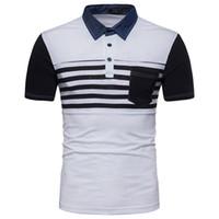 черные футболки с белыми полосами оптовых-S-2XL летняя мода рубашка мужские полосы цвет джинсовый воротник лоскутное с коротким рукавом футболка хлопок одежда черный серый белый