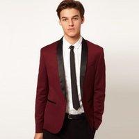 erkekler için zarif smokinler toptan satış-2018 şarap kırmızı erkekler için suit düğün siyah saten şal yaka zarif klasik ceket slim fit smokin 2 parça için akşam parti