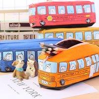 ingrosso autobus per i bambini-5 pezzi Carino School Bus Pencil Case grande capacità in tela auto sacchetto della matita con cerniera per i bambini regalo dei bambini