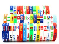 Wholesale Silicon Bracelets Printing - 2018 world cup Environmental silicone bracelets national flag printing silicon bangles hot sale soccer fans promotion gifts