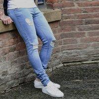 jeans super slim fit hommes achat en gros de-Crayon Pantalon Jeans Super Stretch Denim Jean Destroy Pantalon Slim Fit Nouveau Jeans De Luxe Jeans Mode Homme Denim