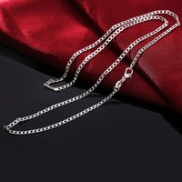 Wholesale nice crystal - 16-30inches wholesale price Plated silver 2MM men women chain unique cute nice Valentine gifts exquisite fashion wedding necklace jewelry