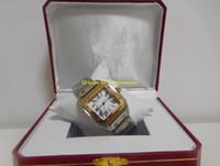 gelber papierkarton großhandel-Luxus original box papiere Hochwertige Damen Zweifarbige 18kt Gelbgold Stahl Römische Zifferblatt Quarz 34 MM Dame Damen Frauen Uhren