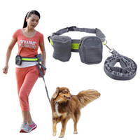 Wholesale elastic running belt - Elastic Belt Running Dog Leash Lead Sports Jogging Walking Pet Collar Rope Hand Free Waist Dog Leash Set
