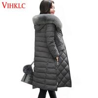 ropa coreana más tamaño al por mayor-Color sólido de invierno largo parka mujer 2017 delgados de piel con capucha abrigos de wadded corea más tamaño ropa de nieve desgaste femenino H441
