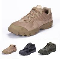 bottes en plein air kaki achat en gros de-ESDY Tactical Boots Desert Combat Outdoor Tactical Chaussures Noir Khaki Randonnée Chaussures de Voyage En Cuir Bateaux Cheville Bottes Unisexe mk345
