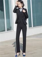 mulheres de terno colete preto venda por atacado-Estilos Uniformes Formais Das Senhoras Preto Azul Blazers Mulheres Saia Ternos 3 Peça Saia (Calça) + Jaqueta + Vest Conjuntos Ternos de Escritório Senhoras de Negócios