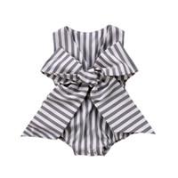одежда летней принцессы оптовых-Newborn Baby Girl Bodysuits Sleeveless Striped V-neck Princess Summer Girls Clothing Bow Cotton Cute Jumpsuit Clothes Outfit